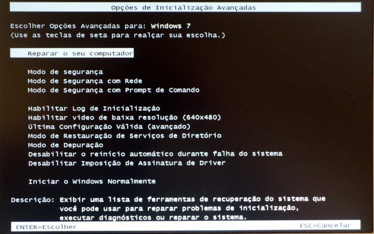 Menu de reparo do Windows 7